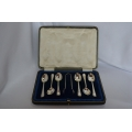 6 pcs solid silver coffee spoons with sugar tongs
