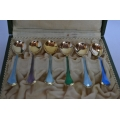 6 pcs gilted solid silver coffee spoons with colour enamel