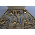6 pcs gilted solid silver coffee spoons with blue enamel