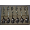 6pcs solid silver tea spoons Fancy pattern