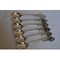 6 pcs solid silver spoons with semi-precious stones