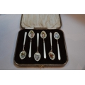 6 pcs solid silver spoons with hand painted enamel