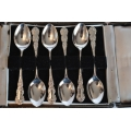Set of 6 solid silver coffee spoons
