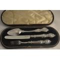 Сребърен комплект за кръщене Викториански стил